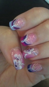 nails, purple, pink, flowers